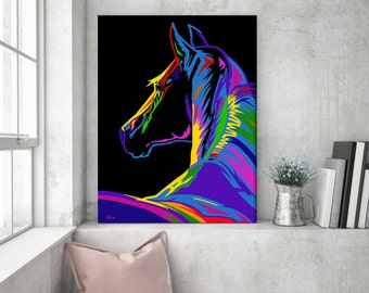 Gift for horse lover, horse painting, horse wall art, pop art horse canvas, horse art, horse gift, horse decor, horse pop art, wall art C03