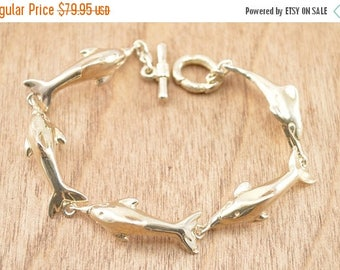 On Sale Dolphin Link Bracelet Sterling Silver 24.7g