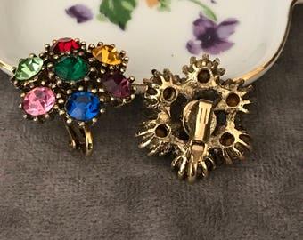 Colorful Vintage  rhinestone clip on earrings