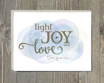 Hanukkah cards, Chanukkah notecard, light joy and love