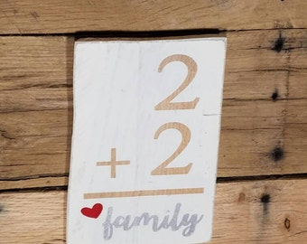Two plus two equals love, family wall hanging, family love, family hearts