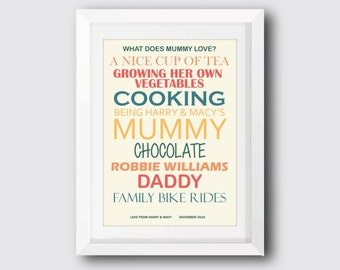 What Does Mummy Love? Personalised Print/Gift For Mum/Mother's Day Present/Birthday Present For Mum/Personalised Mum Gift/Personalised Print