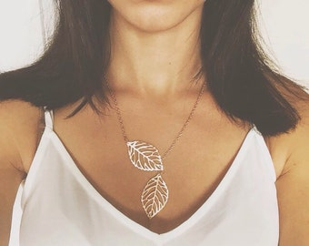 Leaf Necklace | Gold Leaves | Nature Leaf Jewelry | Leaf Lariat Necklace | Event Gifts | Gift for Mom | Friend Birthday Gift | Gold Leaf