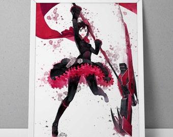 RWBY print, RWBY poster, Ruby Rose  print, Ruby Rose poster, Anime poster, Anime print Watercolor N.001