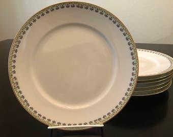 C.H. Field Haviland Limoges GDA France Art Deco Dinner/Luncheon Plates, Set of Seven