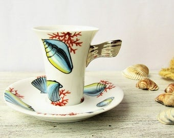 Shells, red coral and platinum hand painted espresso cup, Custom shell porcelain cups, Personalized summer coffee cups, Espresso set for two