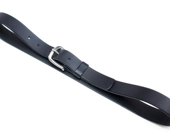 Leather belt - stainless steel buckle - black - 3 cm - length 87