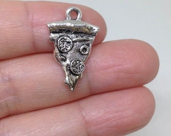 6 Pieces Slice of Pizza Charm, Pizza Charm, Pizza pewter charm, wholesale charm