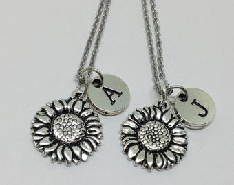 2 Pieces Best friend necklace, sunflower necklace, flower necklace, bff necklace, sister, friendship jewelry, personalized, initial