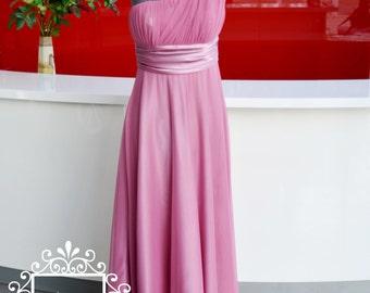 Formal Dress/ Pink Chiffon A-Line One Shoulder Evening Dress/Prom Dress/Chiffon Bridesmaid Dress