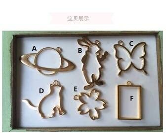 Cat open bezel,bufferfly open bezel,Gold bezel,open bezel,gold charm,UV resin charm,gold open bezel,