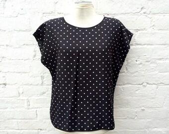 Polka dot top, vintage women's fashion, summer short sleeve single
