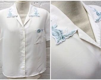 Vintage shirt, pretty blouse, women's summer fashion