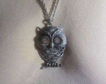Vintage, Silvertone, Owl, 22 inch, Silvertone, Necklace