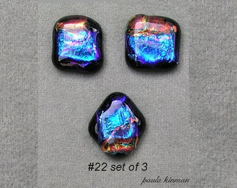 Set of three Dichroic Glass Cabochons #22