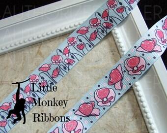 Poppy ribbon, field of flowers, 7/8 grosgrain ribbon, bow making supplies, craft supplies, Scrapbooking