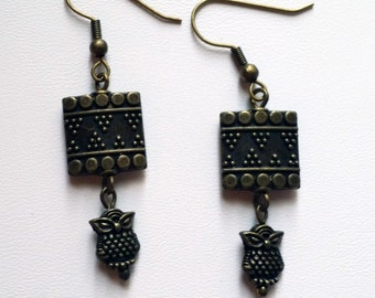 Bronze Square and Owl Earring  (E13-203)