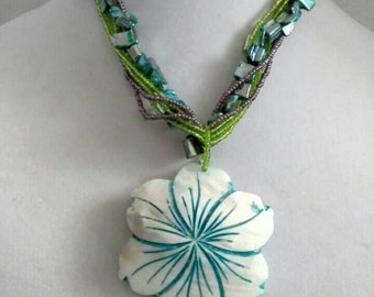 Blue Multi Color Beaded Necklace, Flower Jewelry, Flower Necklace, Chunky Necklace, Accessories, Boutique, Fashion Jewelry