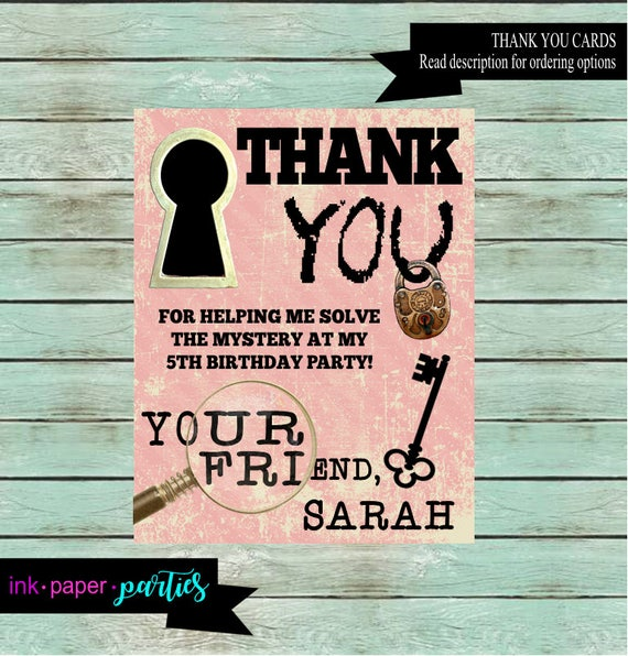 Escape room birthday party thank you note cards personalized for Escape room party