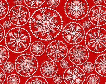 CLEARANCE - Studio E - Winter Essentials IV - Red with White Large Snowflakes (3253S) - Holiday / Seasonal