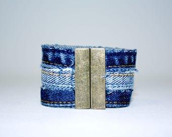 Bracelet three strands in Jean Upcycled
