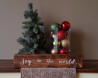 "Joy to the World 16"" Wooden Block Sign"