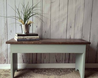 "32"" Entryway Bench- Shoe Storage, Rustic, Small, Turquoise, Distressed, Wood, Country, Farmhouse Decor, Mudroom, Bedroom, Cottage, Furniture"