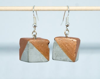 Earring cube, cement , copper