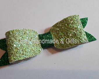 Handmade Glittery Box Bow Hair Clip