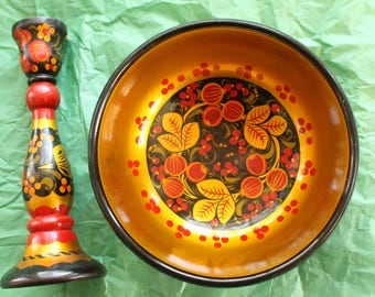 Russian Khokhloma 2 Pieces Bowl And Candlestick