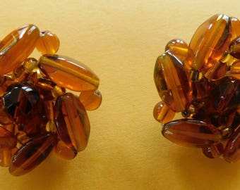 Vintage Amber Glass Bead Clip On Earrings