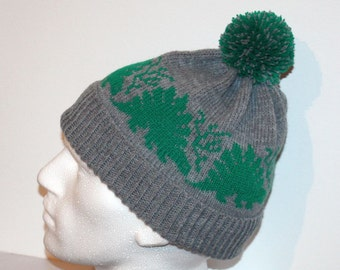 Grey beanie hat with Stegosaurus Dinosaurs in Green with or without pompom top