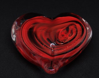 Large Red Glass Heart Paperweight Sculpture Love