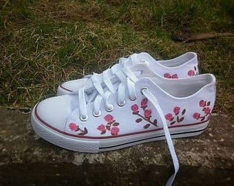 Roses painted sneakers