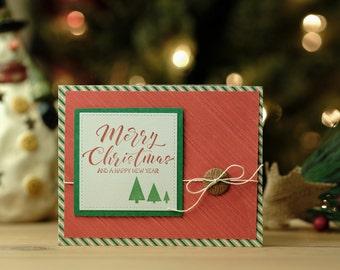 Merry Christmas diagonal stripe card