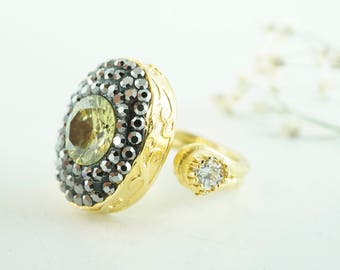 Olive Green Ring/Gold Plated Ring/Spiff Up Zircon/Handmade Unique