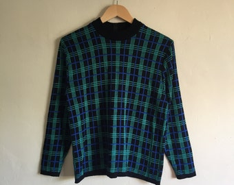 Vintage Plaid Sweater Size Small/Medium, Grid Sweater