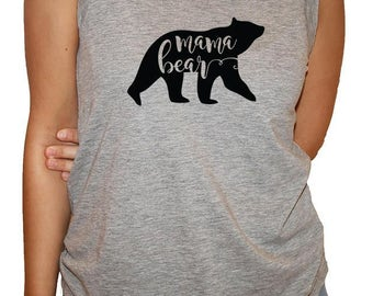New Style ****Ladies triblend racerback tank top Grey with mama bear in black ink.
