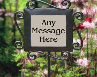 Personalized Any Message Here Garden Slate Custom Name Gift
