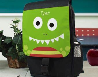 Personalized Dinosaur Backpack Green Custom Name Gift