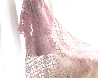 Crochet pink shawl, scarf, fine crochet, pink lace, Triangle shawl, squares