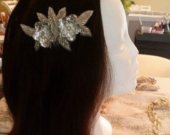 Silver Flowers Hair Barrette