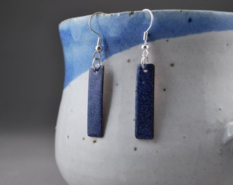 Blue Rectangle Enameled Earrings