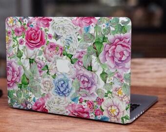 Vintage watercolor flowers floral roses MacBook skin decal laptop sticker vinyl decal MacBook cover MacBook decal MacBook sticker