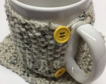 Knitted Tea/Coffee cozy (with matching knitted coaster)