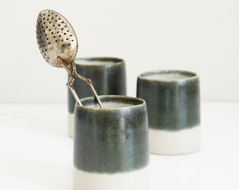 three dark green and natural clay cups, tea cups, pottery, ceramic, handmade, wheel thrown, glazed