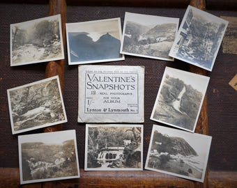 Early 20th Century Tourist Photos Postcards Valentine's Snapshots Lynton Lynmouth Devon England 1920's Original Envelope