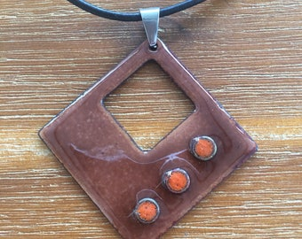 Enamels on copper necklace