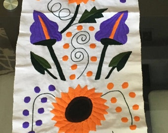 SALE!!! Handwoven and Embroidered Table runner: Sunflowers on White