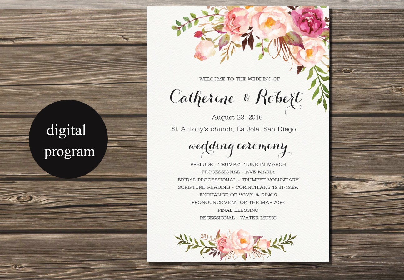 Wedding Programs Wedding Program Printable Bohemian Floral Wedding - Floral wedding program templates